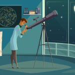 image of Astronomer scientist star gazing and observing moon in night sky using a telescope