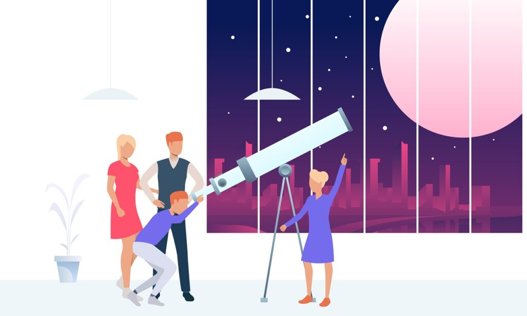 vector image of young people using a telescope to show the best telescopes review & buying guide
