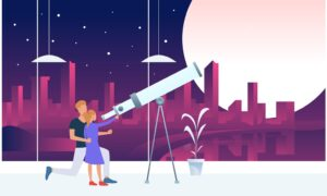 vector illustration image of young people star gazing using a telescope to view the solar system